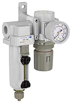 "PneumaticPlus SAU320-N03G-MEP Compressed Air Filter Regulator Combo 3/8"" NPT - Metal Bowl, Manual Drain, Bracket, Gauge"