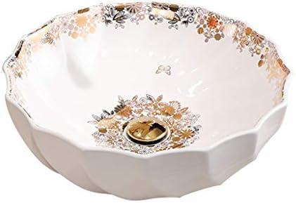 DS- バスルームの洗面台、(タップ無し)ラウンドバニティ家庭シンクセラミック洗面単一盆地、46.5X46.5X16.5cm 洗面ボール && (Size : 46.5X46.5X16.5cm)