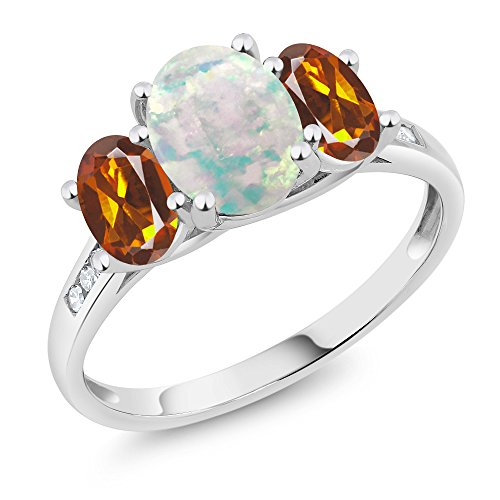 10K White Gold Diamond Accent Cabochon Simulated Opal and Madeira Citrine 3-Stone Ring 1.85 Ct, Available in size (5,6,7,8,9)