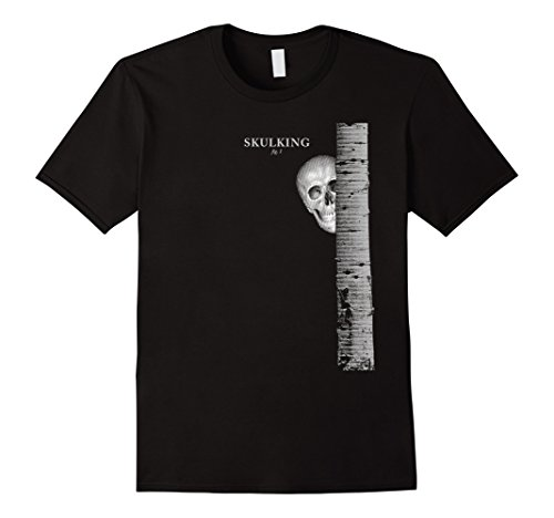 Mens Skulking Skull Pun Ah, ha ha that's funny Halloween Shirt Medium Black (Terrible Halloween Puns)