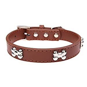 Leather Dog Collar with Bone Charm Brown L 14-18 inches 50 cm
