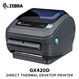 Zebra - GX420d Direct Thermal Desktop Printer for Labels, Receipts, Barcodes, Tags, and Wrist Bands - Print Width of 4 in - USB, Serial, and Parallel Port Connectivity (Includes Peeler)