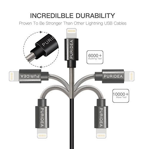 6Ft iPhone Charger Cable,Puridea 5Pack 6 Feet Lightning Certified Fast Charging Cord for iPhone X 8 7 6S 6 Plus iPad 2 3 4 Mini, iPad Pro Air, iPod (Black) by PURIDEA (Image #1)