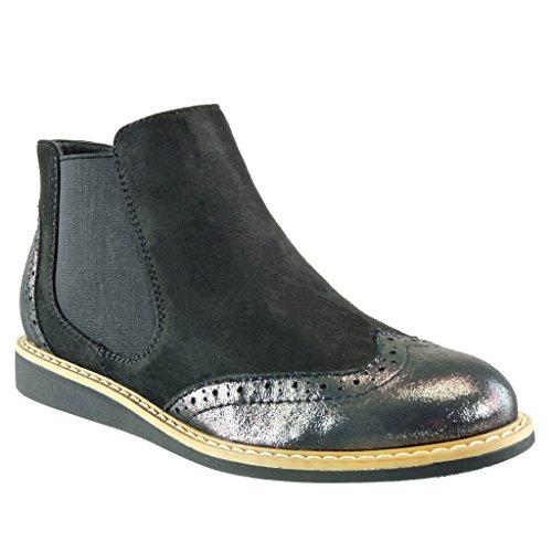 Angkorly - damen Schuhe Stiefeletten - Chelsea Boots - bi-Material - Perforiert - glänzende Blockabsatz 3 CM - Schwarz