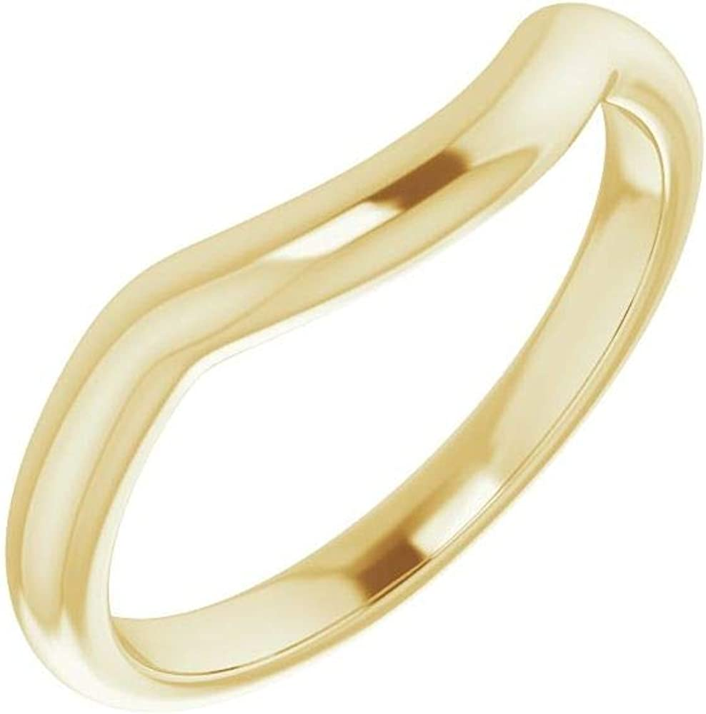 Solid 18K Yellow Gold Curved Notched Wedding Band for 11x9mm Oval Ring Guard Enhancer - Size 7