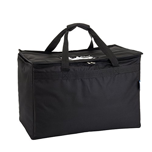 """Commercial Quality Insulated Food Delivery Bag- Large 23"""" x 13"""" x 15'', Thick Thermal Insulation, Extra Strength Zippers, by HicksCoolers (Black) by HicksCoolers (Image #1)"""