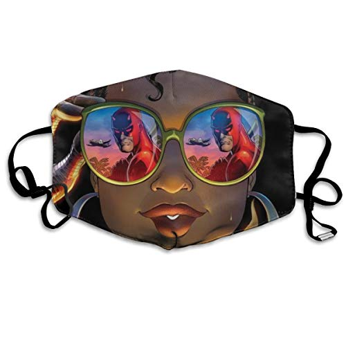 Women & Men Earloop Half Face Face Mask Face Masks Anti-Dust Face and Nose Cover - Cool Soft Windproof Ski Mouth Mask for Kids Youth Boys Girls (Sunglasses Funny Afro Lady African Black Women Girl) ()