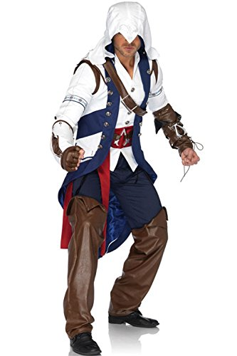 [Mememall Fashion Adult Men's Assassin's Creed Connor Video Game Outfit Adult Halloween Costume] (Kid Sized Assassins Creed Costume)