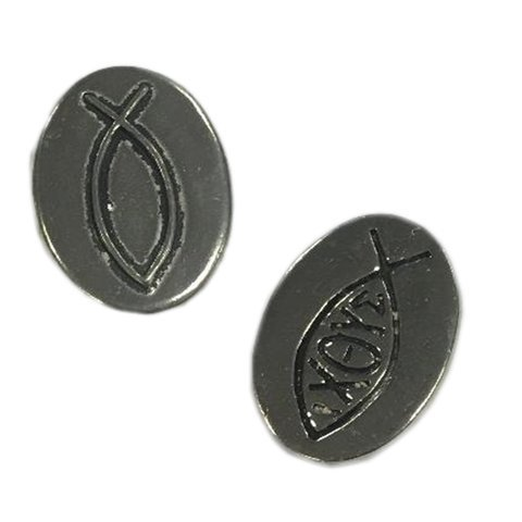 Fish - Christian Symbol : Pocket Token or Lucky Novelty Coin, One Inch, Handcrafted Lead-Free Pewter