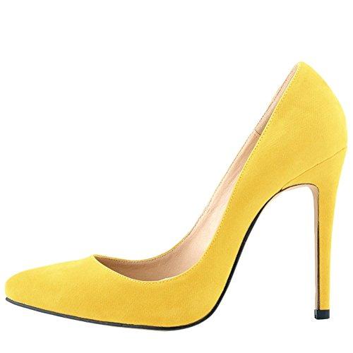 OCHENTA Mujer en muchos colores zapatos de tacon de terciopelo de un banquete de boda Amarillo