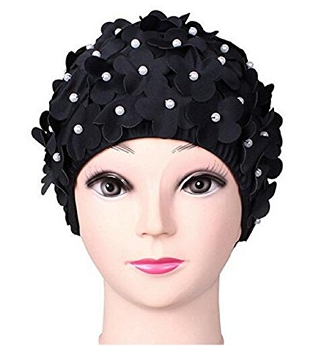 Wendin Ladies Long Hair Flowers Pearl Swim Cap Pure Manual Bead Petals...
