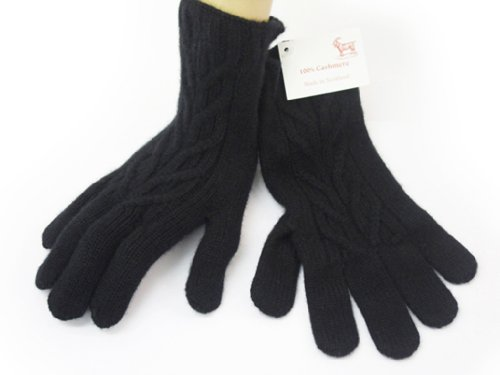 Oxfords Cashmere Pure Cashmere Ladies Cable Gloves, Black -One Size
