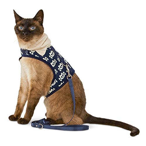 (Bond & Co. Kitty and Crossbones Hooded Cat Harness and Leash Set, Standard)