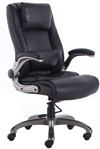 Qwork High Back Executive Office Chair with Flip-up Arms, Slideable Headrest Lumbar Support, Ergonomic Leather Computer Desk Chair Adjustable Height 360 Degree Swivel, Black