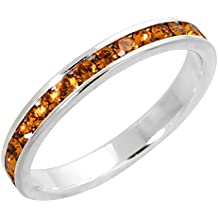 """Sterling Silver Stackable Eternity Band, November Birthstone, Citrine Crystals, 1/8"""" (3 mm) wide"""