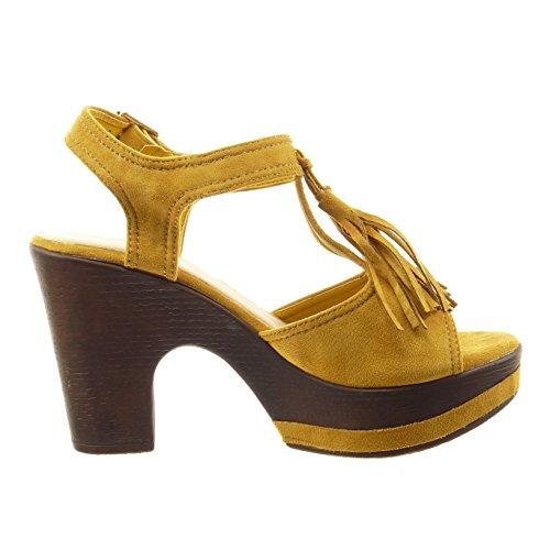 Sopily - Chaussure Mode Sandale ouverte Cheville femmes frange boucle Talon haut bloc 10 CM - Intérieur synthétique - Jaune