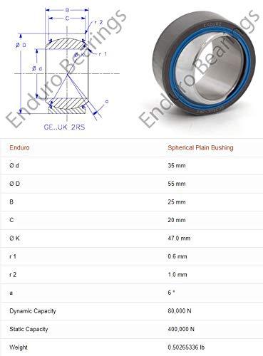 GE 35 UK 2RS Sealed Spherical Plain Bushing PTFE Lined