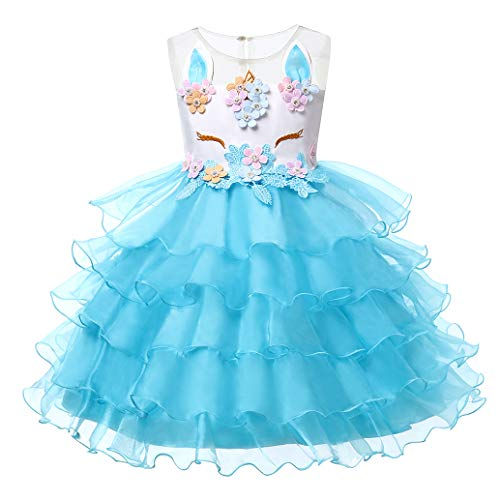 LZH Girls Unicorn Costume Dress Flower Princess Birthday Party Pageant Dress with -