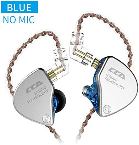 CCA CA4 in-Ear Headphones 1 DD 1 BA Earphone HiFi DJ Stereo Deep Bass Earbuds with Detachable Cable Noise Isolating Metal Headset with Hybrid Driver for Running, Jogging, Walking Blue No Mic