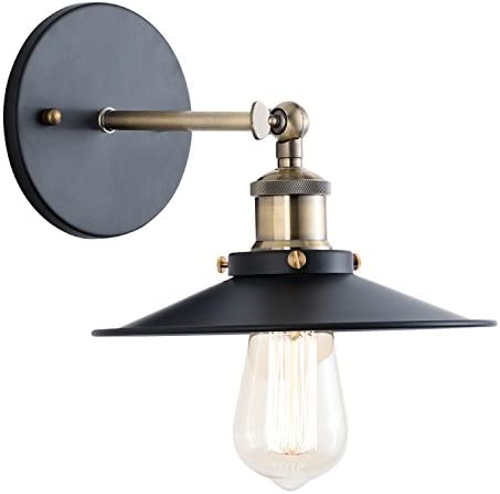 Light Society Cressley Wall Sconce, Matte Black with Antique Brass Finish, Vintage Modern Industrial Farmhouse Lighting Fixture LS-W128
