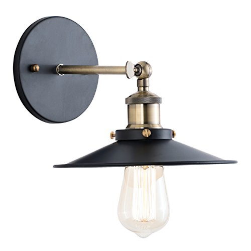 Brushed Bronze Wall - Light Society Cressley Wall Sconce, Matte Black with Brushed Bronze Finish, Vintage Modern Industrial Farmhouse Lighting Fixture (LS-W128)