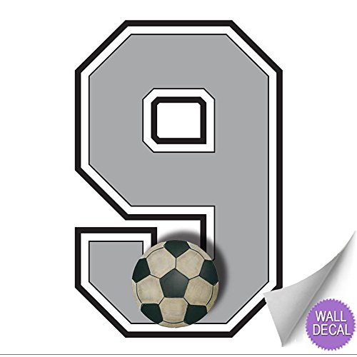 Wall Number''9'' Soccer Ball Jersey Numbers Varsity Uniform Vinyl Sticker Decals Childrens Room Decor Baby Nursery boy Sport Bedroom Team Stickers kid Sports Decorations Balls Decal Mural Graphics Girl
