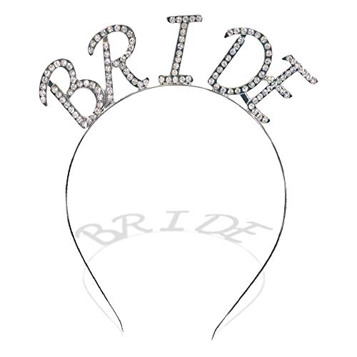 Sparkling Crystal Bachelorette Bridal Party Bride Novelty Tiara Headband Accessory for Women (Bride)