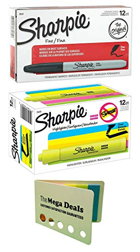 - Sharpie Permanent Markers, Fine Point, Black, 12-Count   Chisel Tip Tank Highlighters, Fluorescent Yellow, 12-Count   Includes 5 Color Flag Set