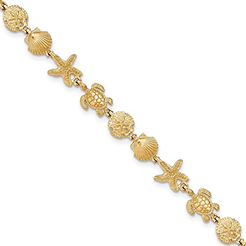 ICE CARATS 14kt Yellow Gold Turtle Sand Dollar Sea Star Starfish Shell Mermaid Nautical Jewelry 7.25in Link Bracelet 7.25 Inch Seashore Fine Jewelry Ideal Gifts For Women Gift Set From ()