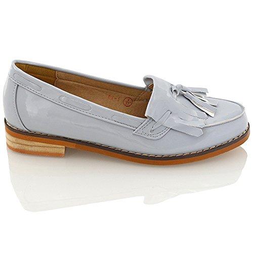 Essex Damesrok Kwastpompen Kunstleer Loafers Schoenen Grijs Patent