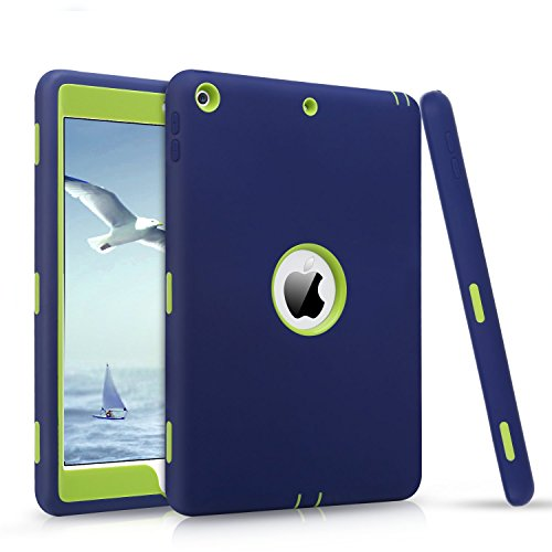 iPad 9.7 2018/2017 Case, DUEDUE Heavy Duty Rugged Shockproof Hybrid Silicone Full Body Hard Armor Defender Protective Cases for Apple New iPad 9.7 inch 2017 Model A1822 A1823, Navy - Hard Hybrid Case