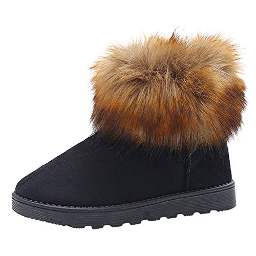 Clearance Sale Slip On Warm Fur Lined Boots,Aurorax Womens Slip On Warm Winter Shoes (Black, US 8)