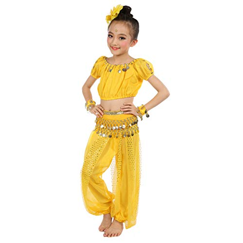 Maylong Girls Coined Harem Pants Belly Dance Outfit Halloween Costume DW56 (Medium, -