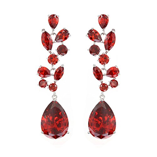 Epinki Women's White Gold Plated Jewelry Dangle Earrings Crystal CZ Water Drop Red