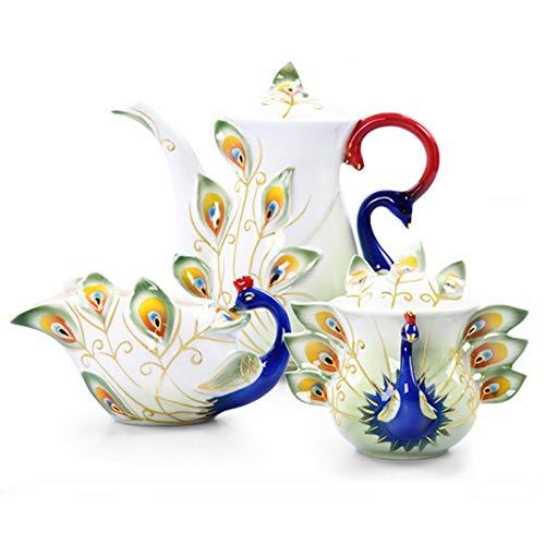 Acquisto KBWL Colore Pavone Caffettiera Lattine per Zucchero Bollitore per Latte Creative Bone China Drinkware Set di Ceramica 04 Set Prezzi offerta