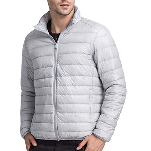 Winter De Outwear Abrigos Larga Cuello Down Boys Abrigo Gris Abrigo Claro Estilo Lanceyy Mens Manga Warm Alto Lightweight Jacket Simple anwE670pqx