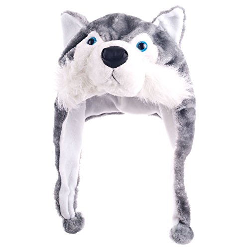[Choose From Over 25 Animals! - Plush Faux Fur Animal Critter Hat Cap - Soft Warm Winter Headwear - Short with Ear Poms and Flaps & Long with Scarf and Mittens Available (Short Gray] (Wolf Head Hat)