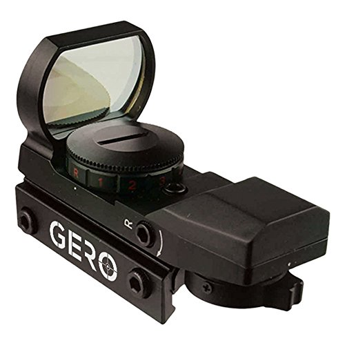 GERO Tactical Green and Red Dot Sight - 4 Reticles Reflex Sight with Built-in Weaver-Picatinny Rail Mount for 22mm Rail Base - Water Resistant Shockproof & Lightweight with Adjustable Brightness