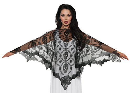 Underwraps Women's Vampire Lace Poncho, Black, One Size -
