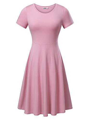 HUHOT Women Short Sleeve Round Neck Summer Casual Flared Midi Dress (Small, Pink)