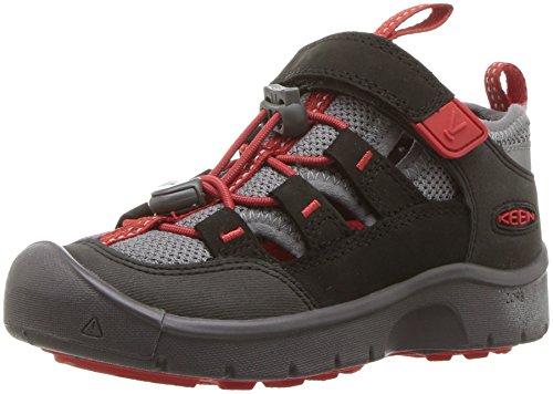 Image of KEEN Unisex HIKEPORT Vent Hiking Shoe, Raven/Firey RED, 13 M US Little Kid