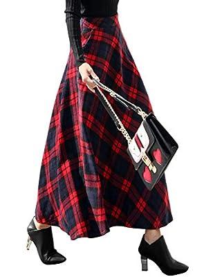 IDEALSANXUN Women's Elastic Waist Plaid Wool Skirt A-line Flared Pleated Long Skirt