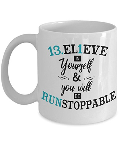 13.1 Mug, 13.1 BELIEVE and be RUNstoppable - Half Marathon Mug - Coffee Tea Gifts for Women Runners - 13.1 Believe in Yourself - Best Tiffany Blue Black and White Running Gift
