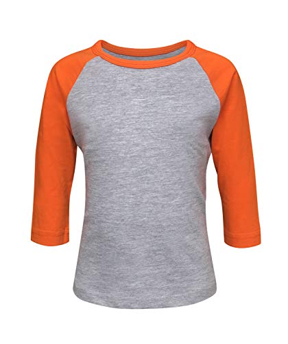 ILTEX Kids & Youth Baseball Raglan T-Shirt 3/4 Sleeve Infant Toddler Youth Athletic Jersey Sports Casual (20+ Colors) (2T, Gray/Orange)