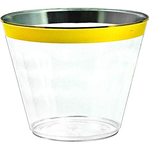 Gold Rimmed Disposable Plastic Cups - Tumblers for Weddings, Holidays, Birthdays & Special Occasions - 100 Crystal Clear Old Fashioned Glasses, Great for Wine & Cocktails -