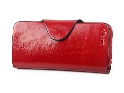 Yafeige Large Luxury Women's RFID Blocking Tri-fold Leather Wallet Zipper Ladies Clutch Purse(1-Waxed Red)