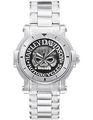 Harley-Davidson® Bulova Mens Watch, Antique Medallion Skull Dial, 76A11