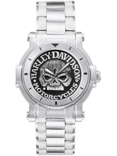 amazon com harley davidson men s bulova watch 78a109 harley harley davidson® bulova mens watch antique medallion skull dial 76a11