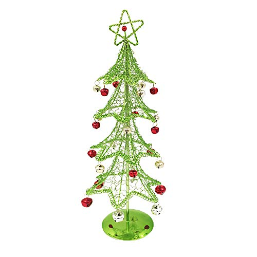 with Bell, Sacow Mini Desktop Iron Christmas Tree Home Office Decoration Gift Ornaments Creative (Green) ()