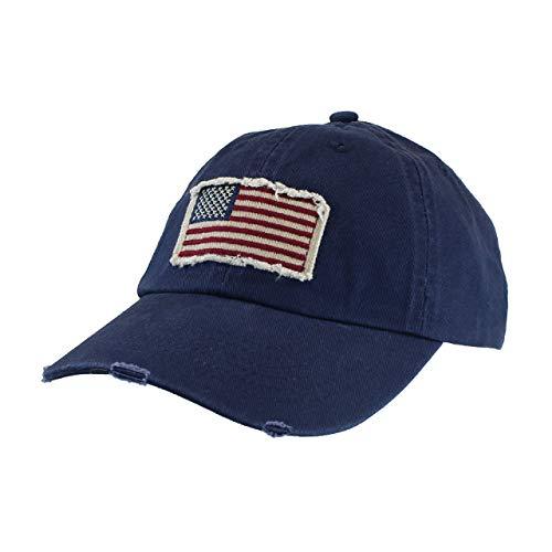 (Navy Blue Cotton Twill Hat - Vintage Frayed American Flag Baseball Cap - Unisex)